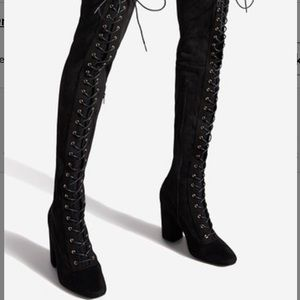 New Shoedazzle | Black Lace Up Over The Knee Boots